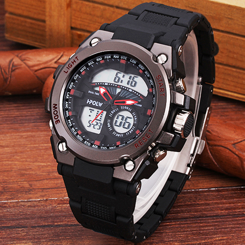 New HPOLW brand Sports Chronograph Men's Wrist Watches Digital Quartz Dual Movement Waterproof Diving Watchband Males Clock hpolw серебристый цвет 11