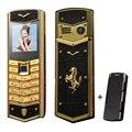 MAFAM V5 Ruso Árabe Español Firma wechat Vibración bluetooth mp3 mp4 coche de cuero de Lujo de Oro caja del teléfono Móvil del envío P093