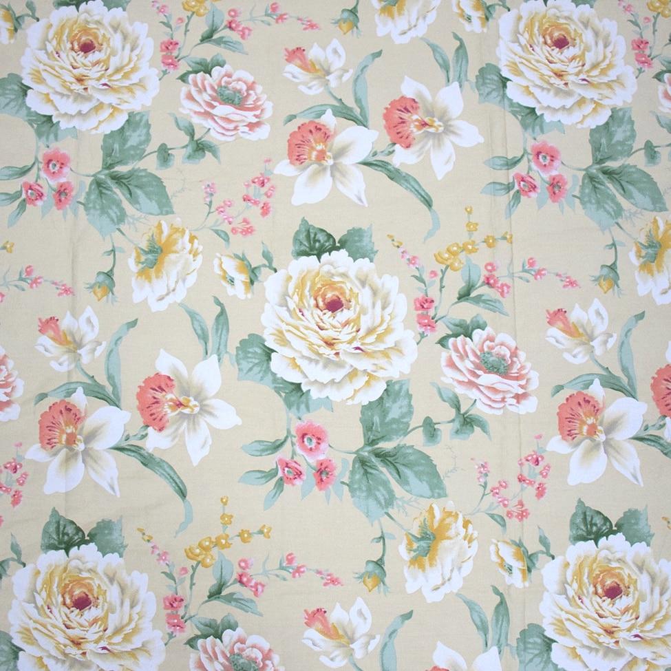 235CM Šířka Pozadí Velká Květinová Růže Tištěná 100% Bavlněná tkanina pro Šití Patchwork Ruční Bavlněná textilie