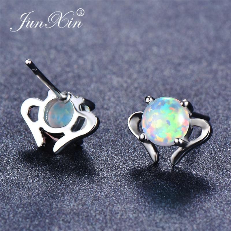 JUNXIN Round Rainbow Fire Opal Stud Earrings For Women Silver Color White Blue Opals Birthstone Heart Earrings