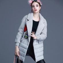 2016 зима женщины Европейский станция новая мода марка костюм воротник шерстяной прямо патч ткань шить куртки хлопка w1651