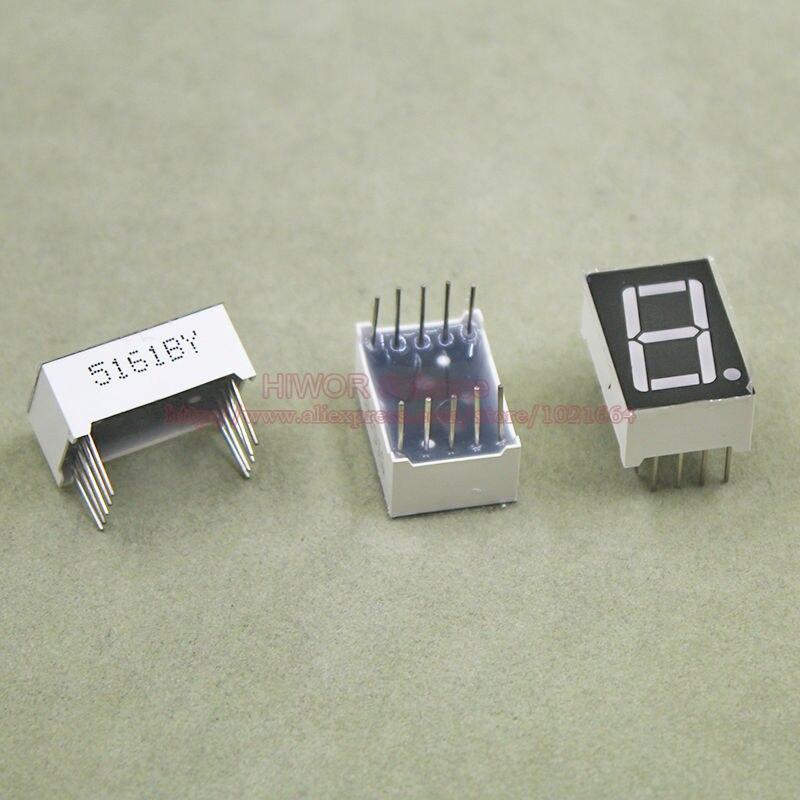 (10pcs/lot) 10 Pins 5611BG 0.56 Inch 1 Bit Digit 7 Segment Yellow LED Display Share Common Anode Digital Display