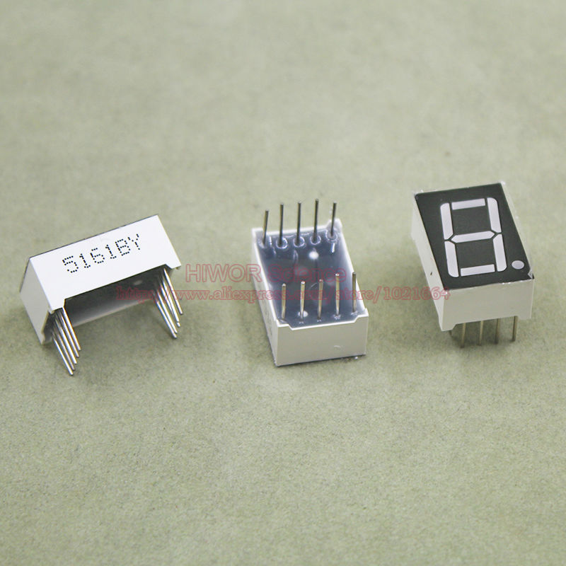 200pcs 10 Pins 5611AY 5611BY 0.56 Inch 1 Bit Digit 7 Segment Yellow LED Display Share Common Anode Cathode Digital Display