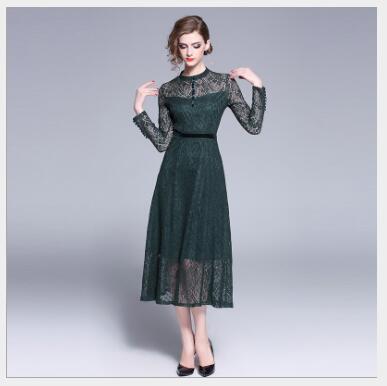 Solid Green Outwear Pizzo O Casual A collo Nuova 2019 Slim Di line Lungo  Fit Manica Delle Femminile Lunga Modo Vestito Primavera Stile Abito Donne  gRP6awWq 13f0aead79d