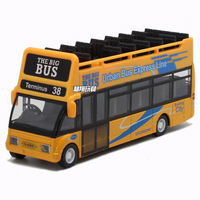 Alloy Car Model City Sightseeing Bus Model Toy Urban Bus Express Line Lighting Music Resilience Function Diecast Model Bus 1:32