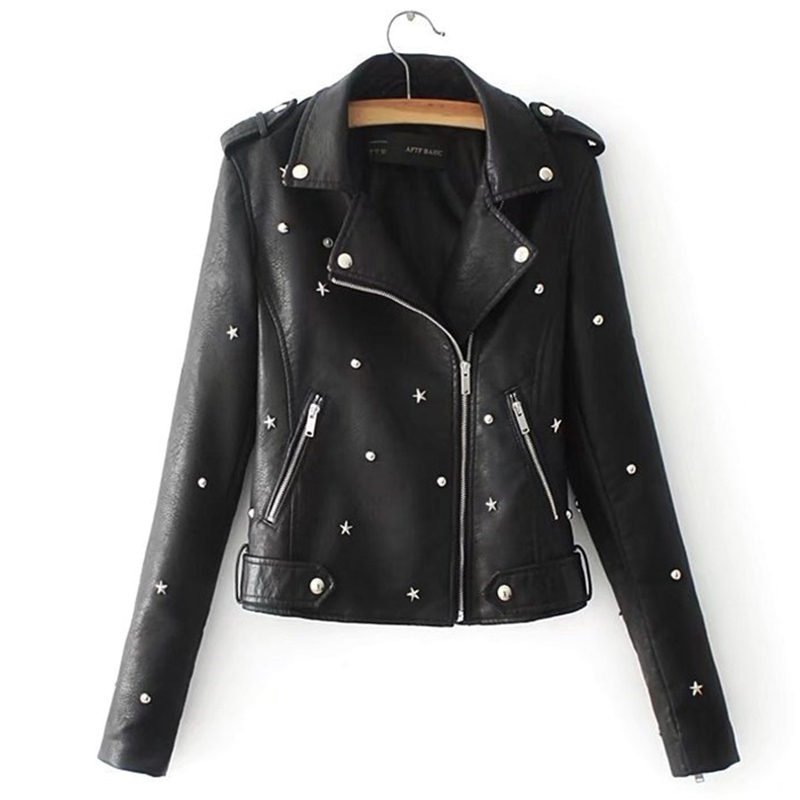 Women With Rivets Autumn   Leather   Jacket Streetwear Motocycle Fashion Female 2019 Faux Outwear Coat 5 Color Available