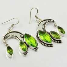 Peridots , Silver Overlay on Copper Earrings, 54mm  E1983