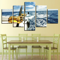 Canvas Printed Home Decor Fishing Rod Poster 5 Pieces Wall Art Yacht Modern Artwork Pictures Painting