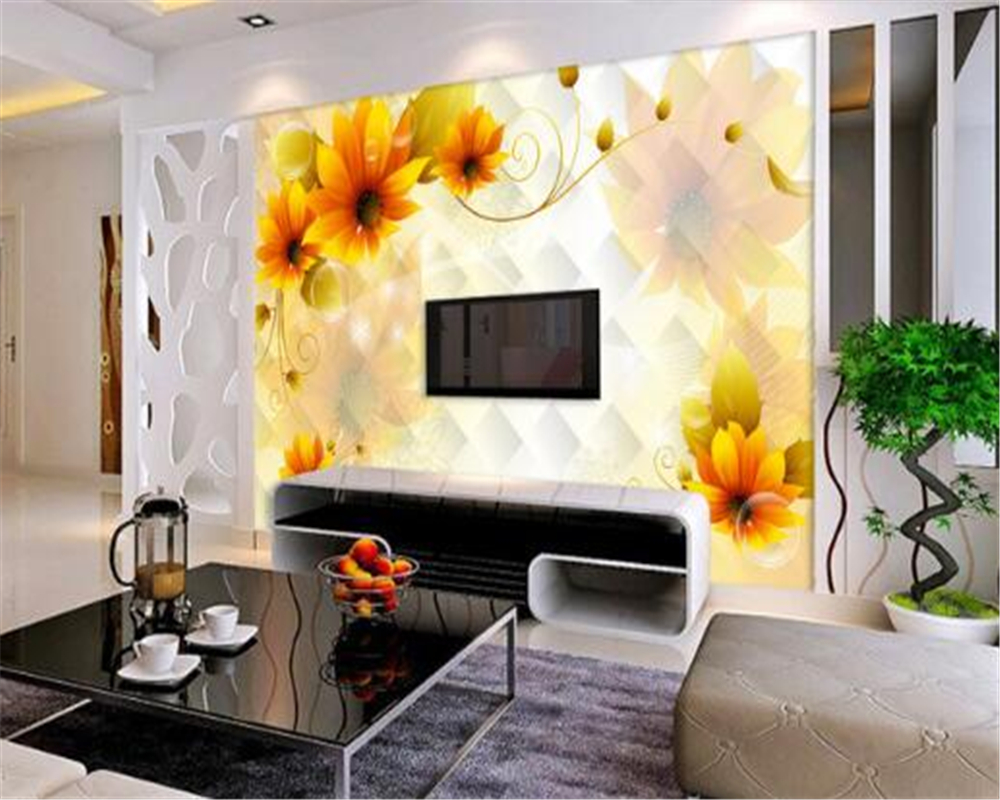 Beibehang d wallpapers grote bloemen muurschildering huis