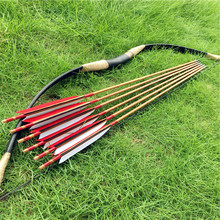 Nice Set China Traditional Longbow 20-60LBS +6 Wooden arrows Archery hunting