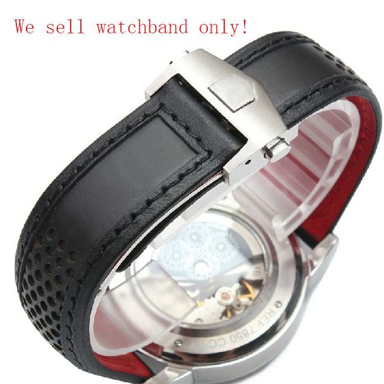 22mm Leather Watchband Watch Band Strap Bracelet With Red bottom for men brand watch Waterproof Watch Accessories high quality все цены
