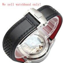 22 мм Кожаный Ремешок Для Часов Часы Ремешок Ремешок Браслет С Красной подошвой для мужчин бренд часы Водонепроницаемые Часы Аксессуары высокого качества