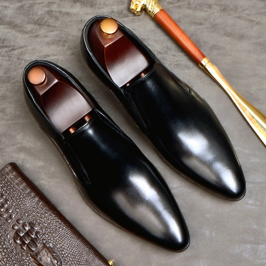 Classic Designer Genuine Leather Formal Dress Men's Shoes Pointed Toe Slip On Basic Handmade Casual Loafers For Male AS116