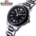 Brand Binger 2017 New Men Luxury Watches with Ceramic Watch fine steel strap 1 piece drop Free shipping Wristwatch