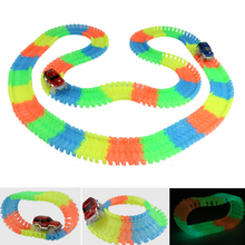 HUIMEI Miraculous Glowing Race Track Bend Flex Flash in the Dark Assembly Car Toy 162/165/220/240pcs Glow Racing Track Set magic track mini racing car race cars track luminous road slot glow in the dark stunt railroad flexible glowing toys for boys