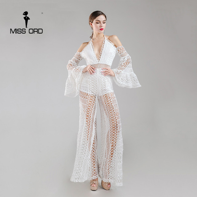 Missord 2019 Sexy Deep-V off the shoulder see through lace jumpsuit FT8163 f90a0e4ab367