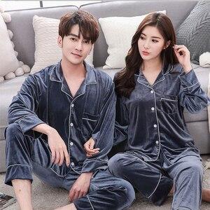 Image 4 - BZEL Warm Couple Pajamas Set Turn down Collar Long Sleeve Sleepwear Soft Leisure Pajama For Female Lovers Clothes Pijama Femme