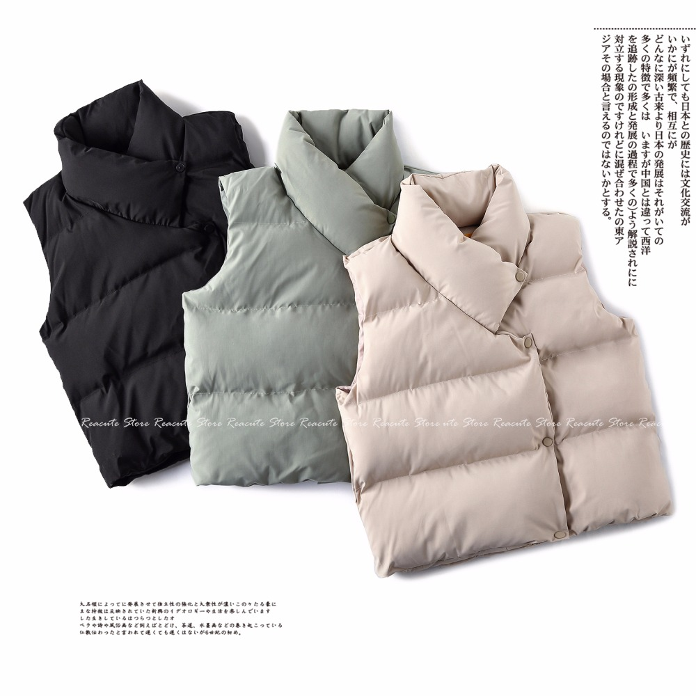 Winter Woman Down Vests Coats Thick Warm Sleeveless Cotton Liner Jackets Femme Loose Casual Coat Plus