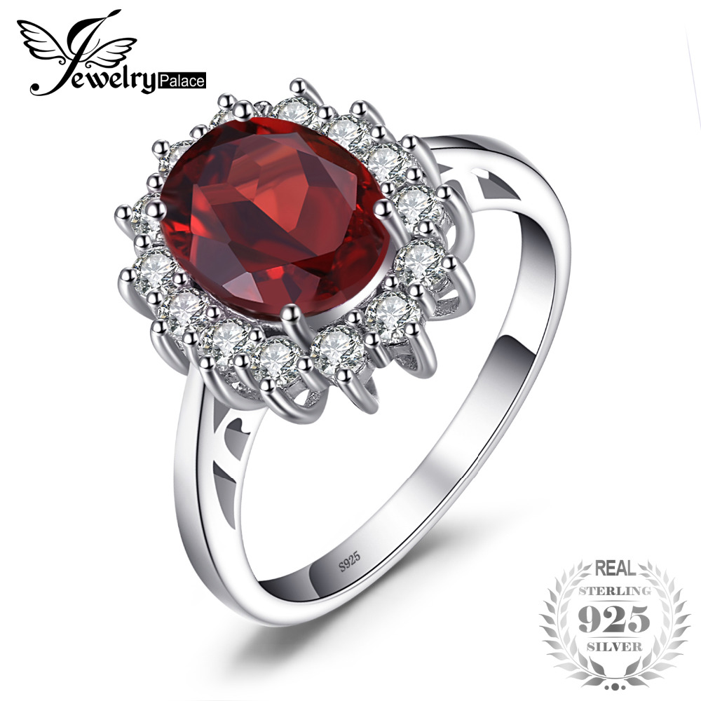 JewelryPalace Kate Princess Diana 2.5ct Natural Garnet Halo Engagement Ring Genuine Pure 925 Sterling Sliver Jewelry For Women