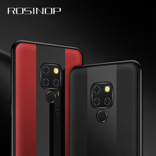 ROSINOP Business Luxury Leather Phone Case For huawei P20 lite P10 Mate 20 pro 10 Honor 8X Nova 3 Tempered Glass Cover