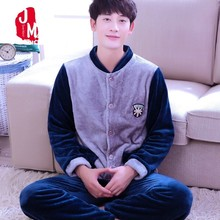 2018 Men Pajama Sets Winter Autumn Coral Fleece Warm Men Sleepwear Suits Thick Homewear Long Sleeve Pijama Man Sleep Pyjama XXXL