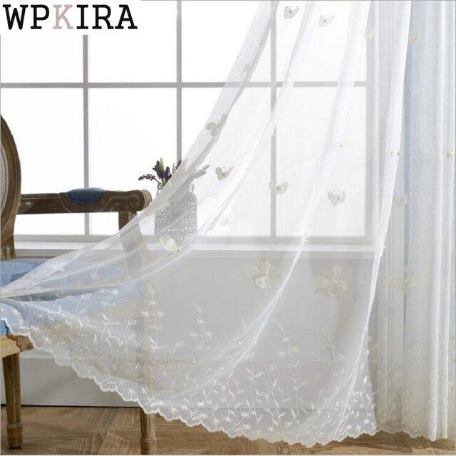 witte vlinder gordijn parel ontwerp mesh stof sheer keuken raam gordijnen transparante tule gordijnen s272