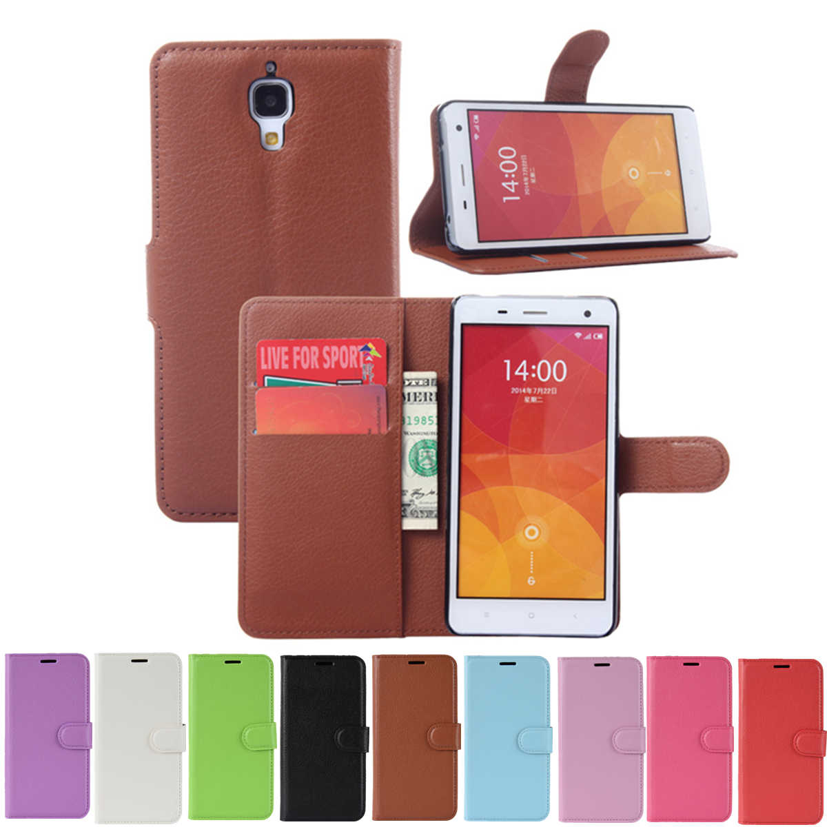 for Xiaomi Mi4 Wallet Cover Card Holder Phone Cases for Xiaomi Mi4 Mi 4 Leather Case