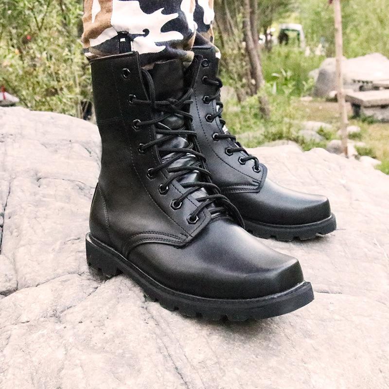 Home Stahl Kappe Military Echtes Leder Stiefel Männer Kampf Bot Infanterie Taktische Stiefel Askeri Bot Armee Bots Armee Schuhe Erkek Ayakkabi