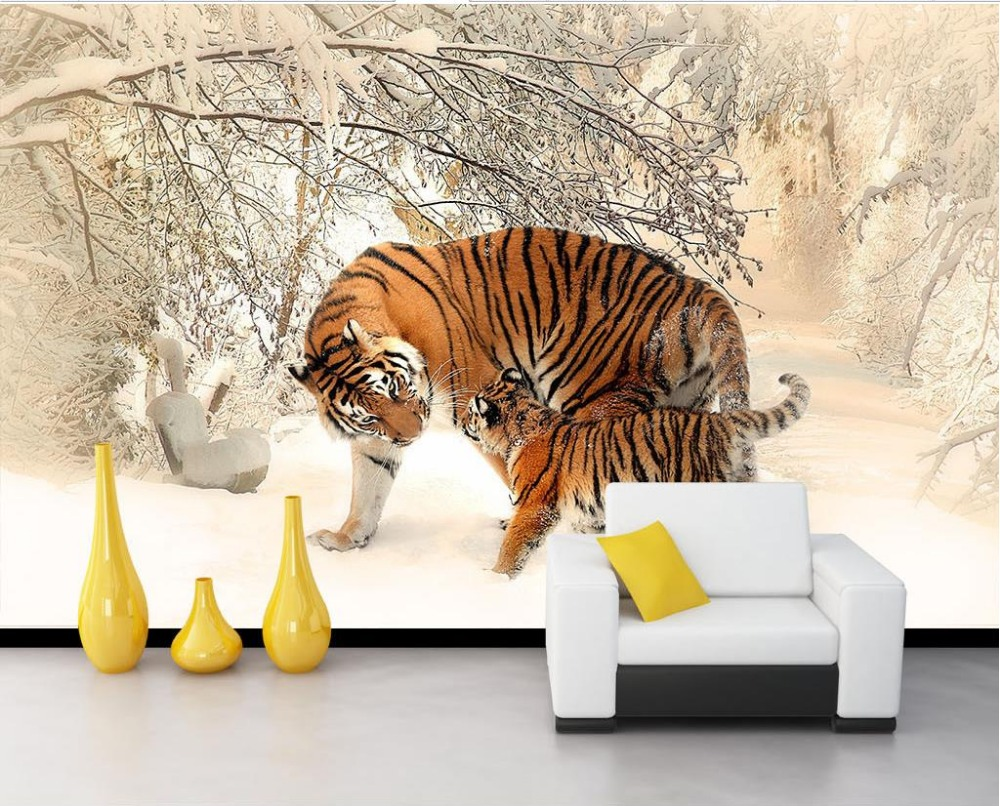 Papel parede mural wallpaper animal tiger 3d stereoscopic for Animal wall mural