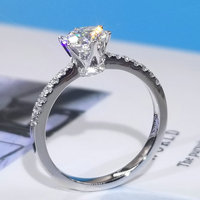 100% 18K Au750 White Gold D color VVS 6.5mm 1.0ct Genuine Moissanite Diamond Engagement Ring Gift for Women Sparking