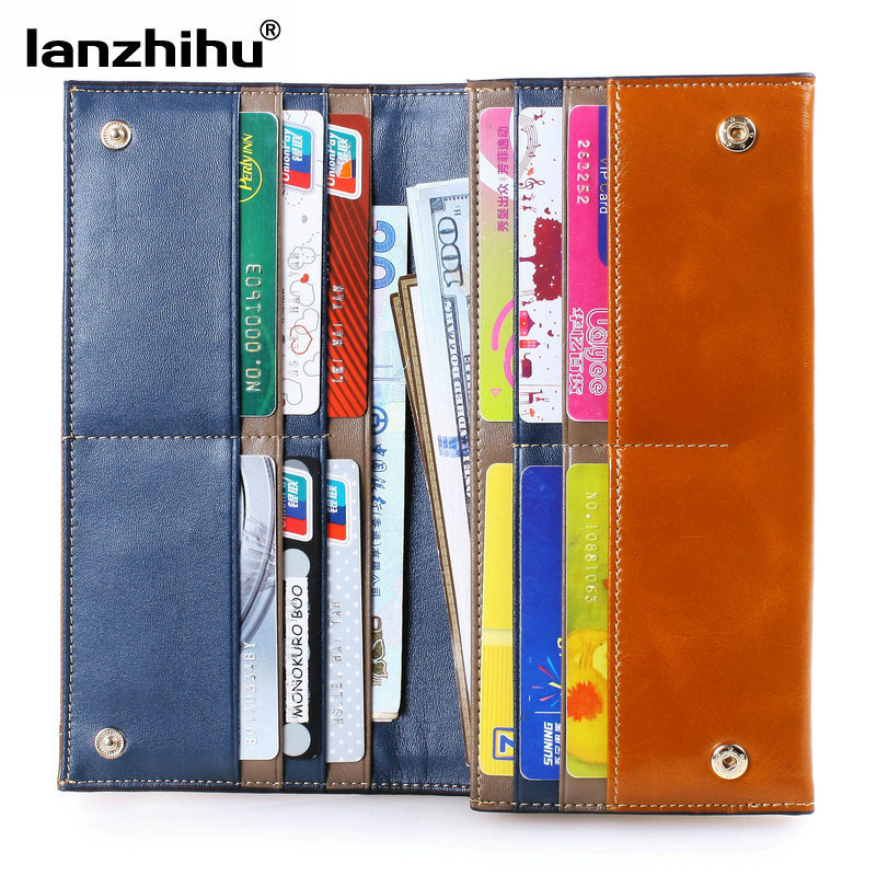 ФОТО NEW 2016 100% Oil Wax Leather Female Wallet Women Money Credit Card Holder Genuine Leather Women Clutch Wallet Phone Long Coins
