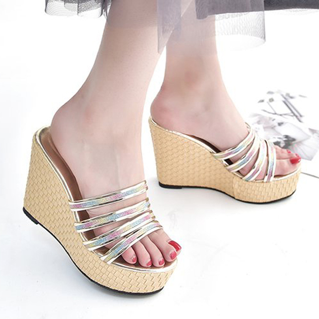 7588e3aefa89 Women Sandals Platform Shoes Wedge Sandals Open Toe Wedges Women  Summer shoes  Ladies Jelly Slippers Heeled Thick High Heels