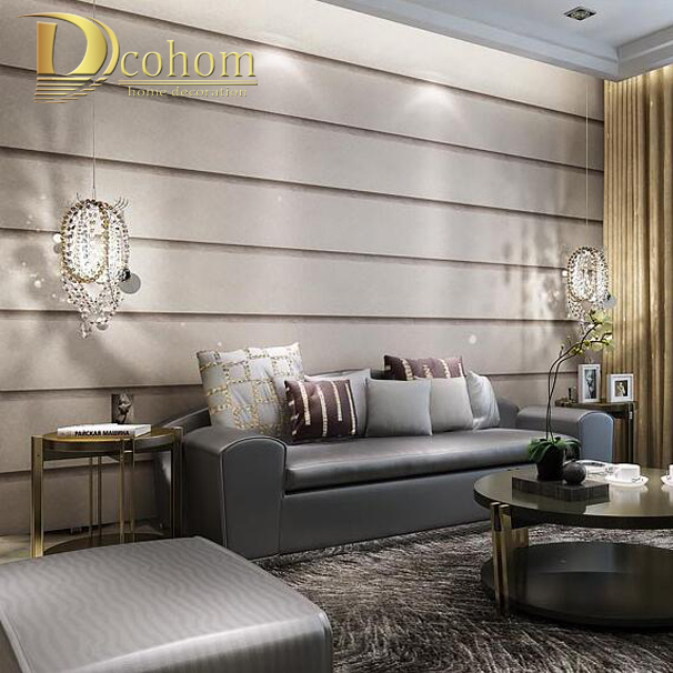 Living Room Decor With Grey Walls Bookcase Striped Marble Textures Wallpaper For Wall 3 D Embossed Designs Modern Bedroom Decoration Paepr Rolls