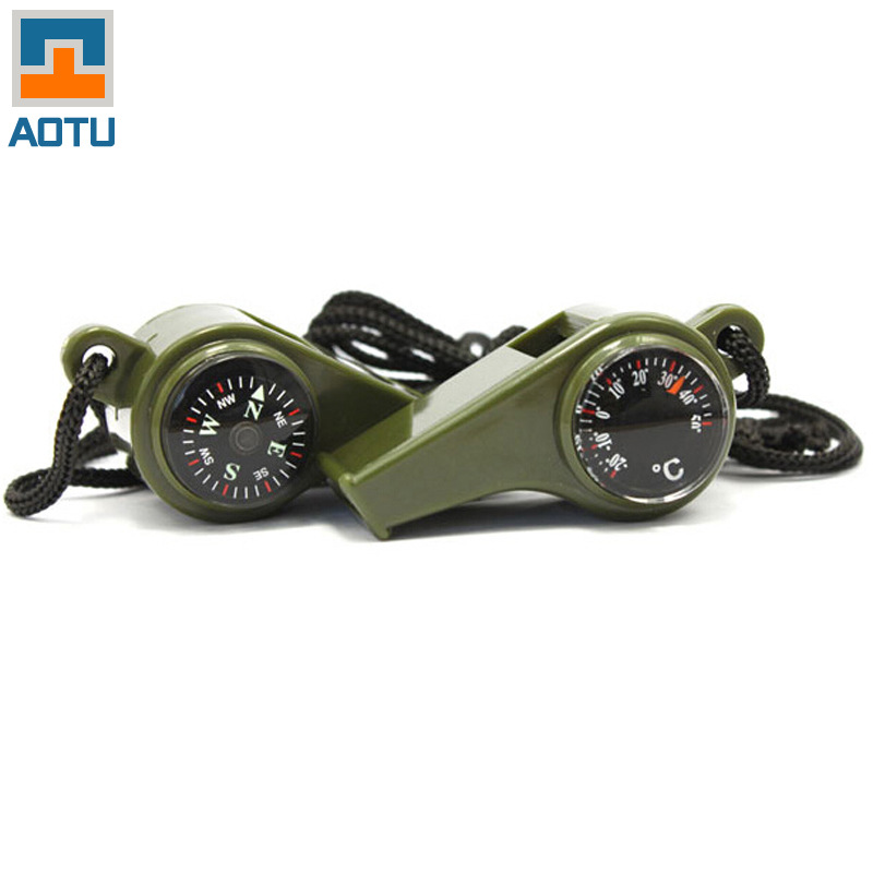 High Quality Brand Aluminum Alloy Multifunctional Whistle Emergency Survival Whistle With Compass Thermometer 1PCS
