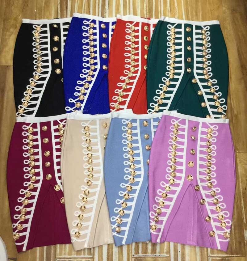Haute qualité 8 couleur Sexy jupes de fête bouton fendu Slip découpé ourlet moulante Bandage jupes femmes jupes
