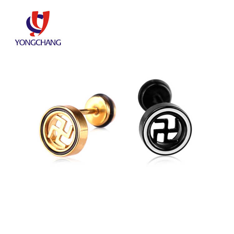 Party gift Rock earrings cool earring stud man black ear stud gold ear jewelry round for woman 1 pair free shipping