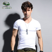 2016 New style mens short sleeve summer t shirt slim fit cotton V collar t shirts for men Big size to 4XL 5XL men's fitness Tees