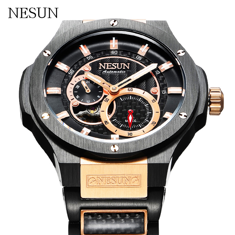 Brand NESUN Men Automatic Mechanical Wristwatches Luxury Sapphire Waterproof Full Steel Sports Watches Male Relogio Masculino burei man watch top luxury brand male clock diamond sapphire mechanical wristwatches gold steel band waterproof watches hot sale