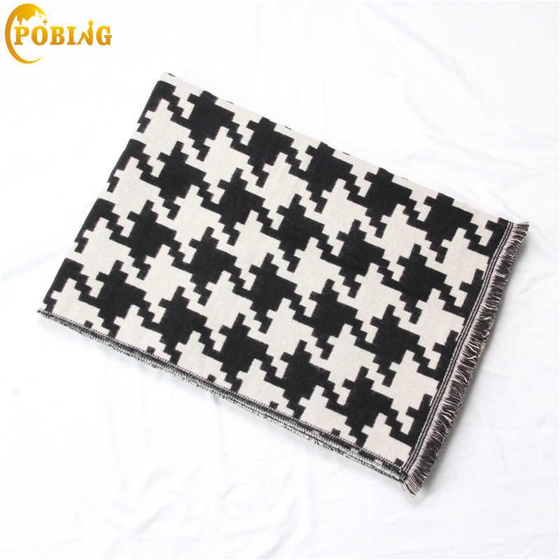 POBING роскошный бренд Черно-Белые птицы кашемировый шарф с принтом женские шафры-платки с кисточками обертывания теплое зимнее одеяло пашмины