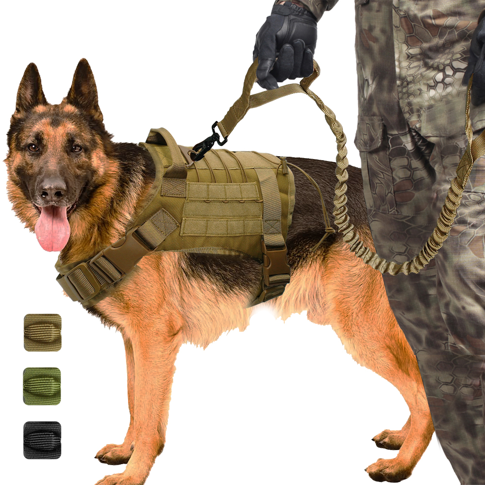 Military Tactical Dog Harness K9 Working Dog Vest Nylon Bungee Leash