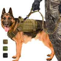 Military Tactical Dog Harness K9 Working Dog Vest Nylon Bungee Leash Lead Training Running For Medium Large Dogs German Shepherd