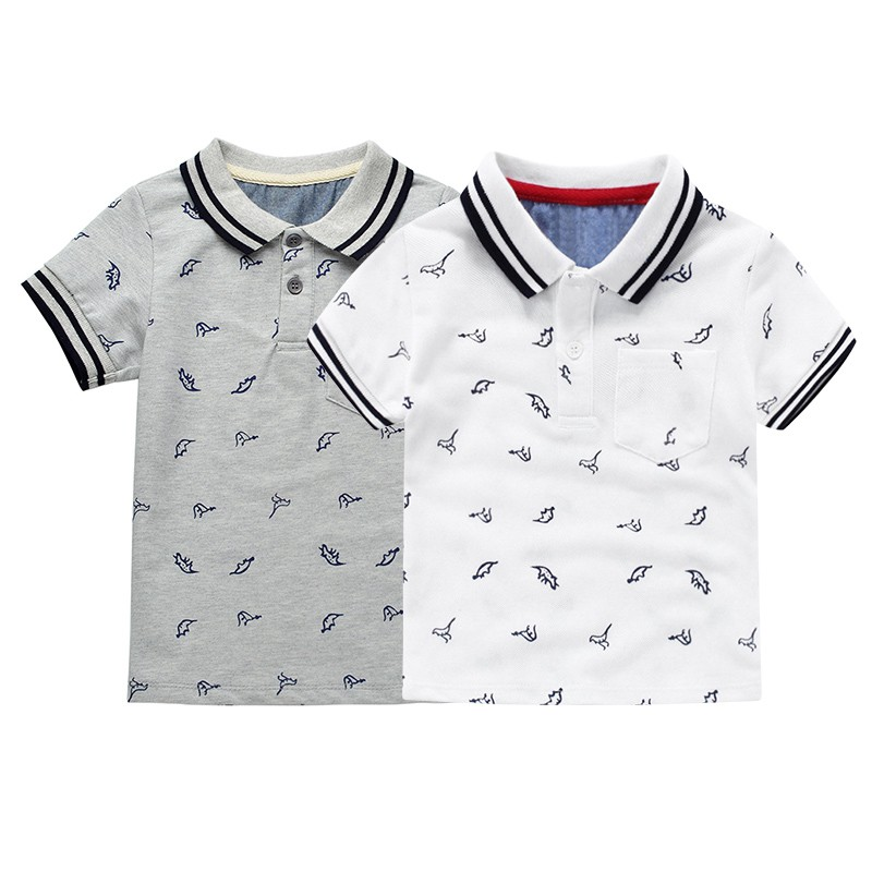 New Summer Dinosaur Boys T-shirts Cotton Kids Tops Sports Tee Turn-down Collar Boys Polo Shirts 2-6Y Childrens Clothing