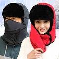 Invierno Caliente Orejeras Bomber Sombreros Tapas para las mujeres y de los hombres Rusos Trapper Aviator Trooper Nieve Gorra Con Máscara A Prueba de agua bufanda