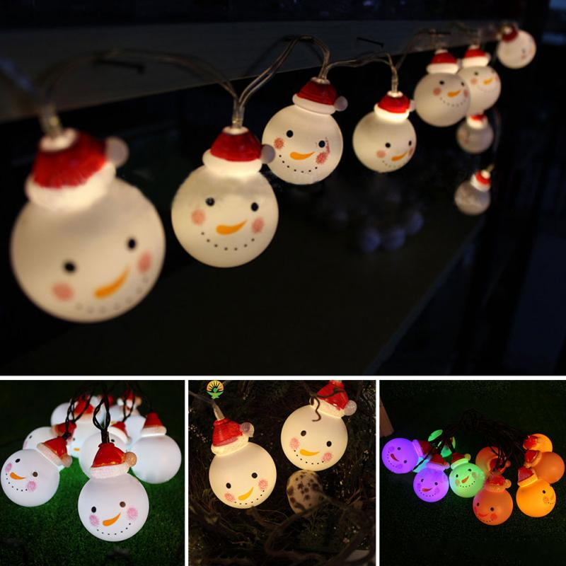 2018 new Festival Decorative Lights Christmas Snowman Decor Props LED String Light for Christmas Trees New Year Party Lightings stylish christmas snowman embroidery festival beanie for men and women
