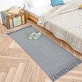 Style nordique japonais rétro petite zone tapis Simple main coton tissage glands couleur unie tapis pour canapé salon fenêtre tapis|Tapis|   -