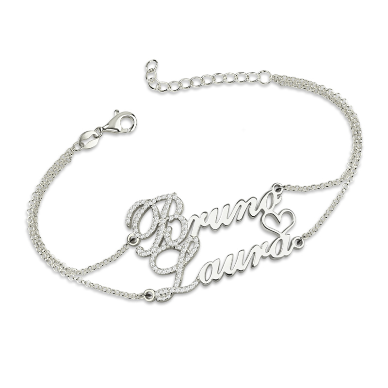 AILIN Two Names Bracelet With Birthstones Sterling Silver Double Chain Bracelet for Couples