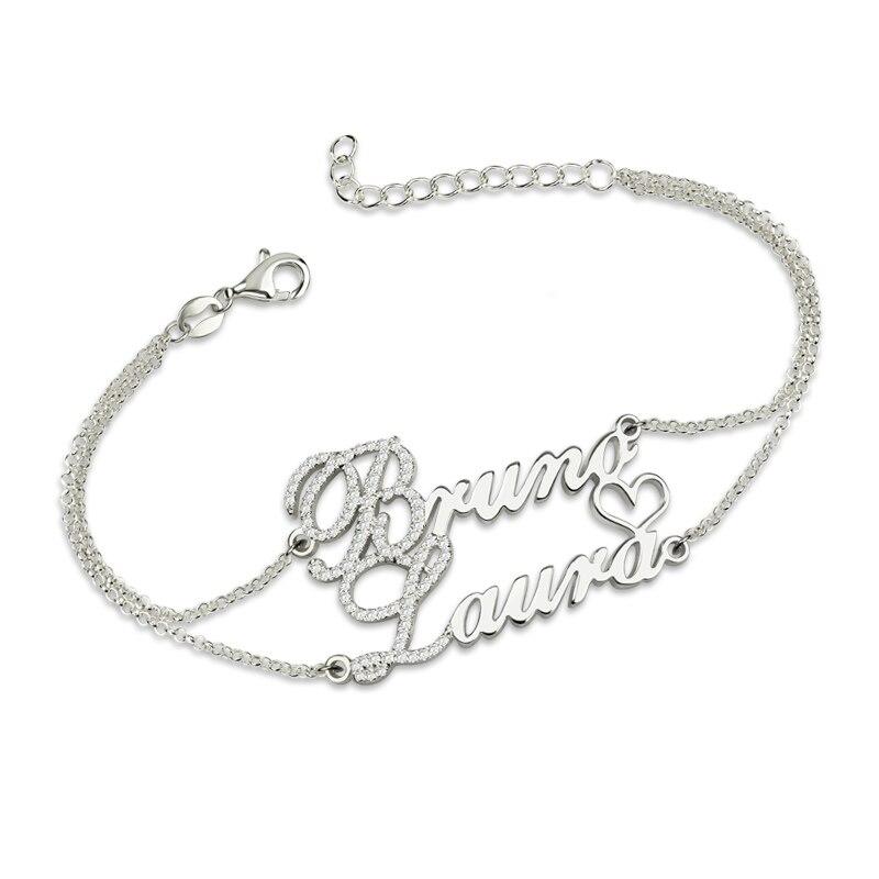 AILIN Deux Noms Bracelet Avec Pierres de Naissance En Argent Double Chaîne Bracelet pour Les Couples