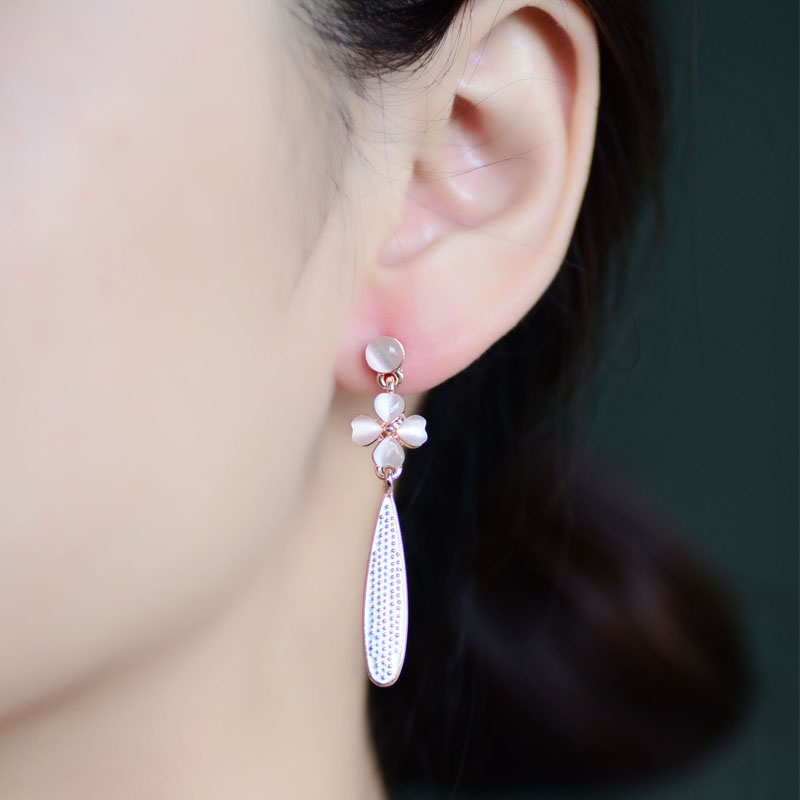 Neoglory Flower Rose Gold Color Long Drop Dangle Chandelier Earrings Women Fashion Jewelry 2017 Brand New In From Accessories On