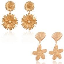 Creative sea Alloy shell starfish earrings Gold Earrings For Women 2019  Female Jewelry Pearl Drop Dangle Earrings Brincos недорого
