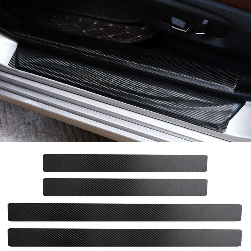 4Pc Black Car Door Plate Stickers Carbon Fiber Look Car Sticker Sill Scuff Cover Anti Scratch Decal Universal For All Car